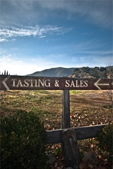 Napa Valley vineyard field with Tasting and sale signpost in front