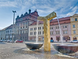 Czech city of Pilsen Town Hall and the Golden Fountain